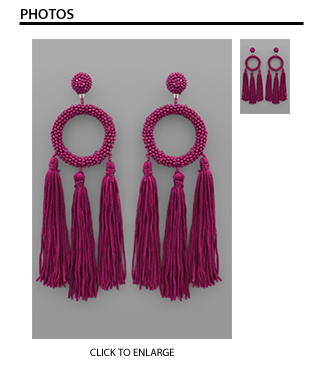 Kristina Bead & Tassel Earrings in Plum