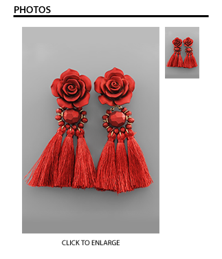 Rashida Red Rose Tassel Earrings