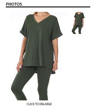 Basic Loungewear Set in Olive Green
