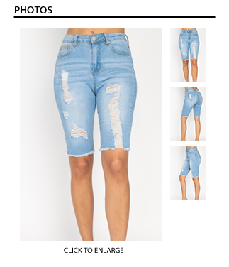 Denim Distressed Bermuda Shorts - Light