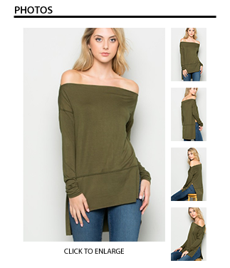 Olive Boat Neck Long Sleeve Top