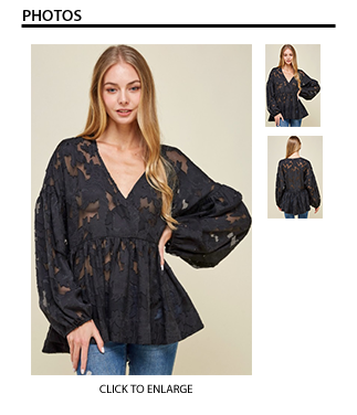 Floral Print Chiffon Top - Black