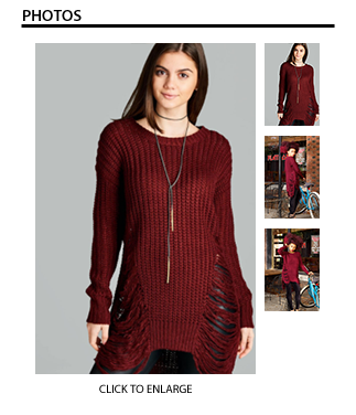 Frayed Sweater in Burgundy