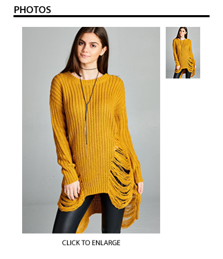 Frayed Sweater in Mustard