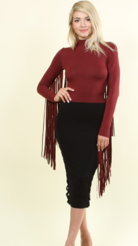 Fringe Benefits Mock Neck Top in Wine