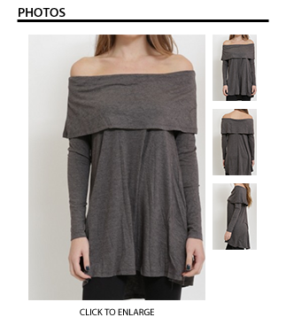 Off the Shoulder Tunic in Charcoal Gray