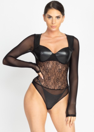 Faux Leather Lace & Sheer Bodysuit