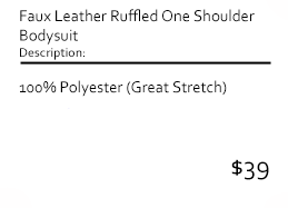 Faux Leather Ruffled One Shoulder Bodysuit