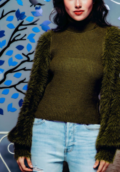 Turtleneck Fuzzy Sleeve Sweater in Olive