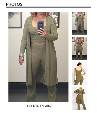 3 Piece Ribbed Knit Pant Set in Olive