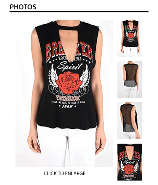 Rock & Roll Tee with Mesh Detail