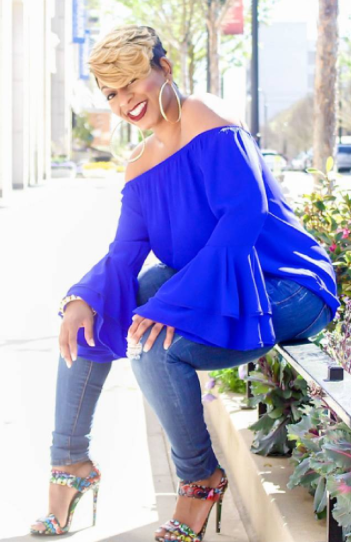 Summertime Fine Off the Shoulder Ruffled Blouse in Royal Blue
