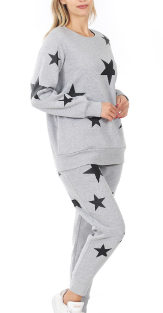 Super Star Sweatsuit Set - Gray with Black Stars