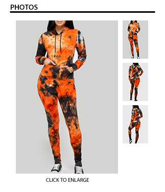 2 Piece Long Sleeve Hoodie Tie Dye Set - Orange