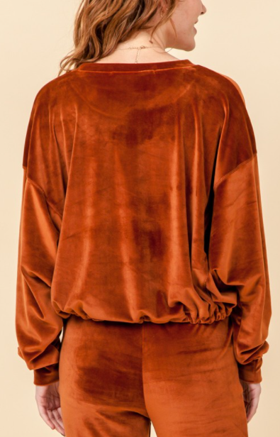 Cognac Velour 2-Piece Set