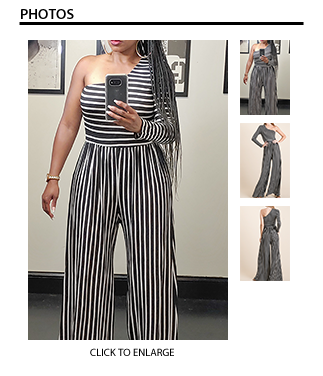 Striped One Shoulder Jumpsuit