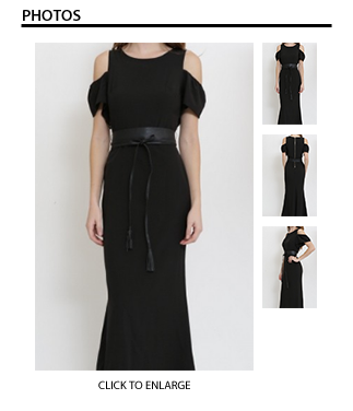The Long Black Dress with Faux Leather Belt