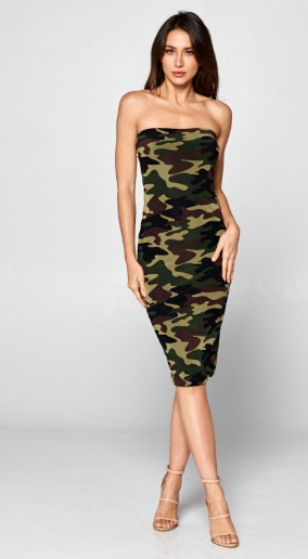 Army Mesh Tube Dress with Lining