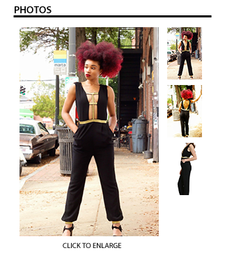 The Aladdin Jumpsuit in Black with Gold Accents