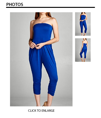 Tiffany Tube Jumpsuit with Pockets in Blue