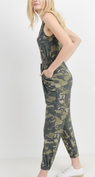 Camo Print French Terry Jumpsuit with Pockets