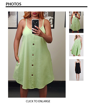 Linen Dress with Button Detail & Pockets - Lime