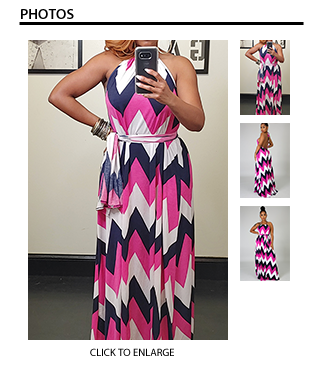 Zig Zag Maxi Dress - Pink