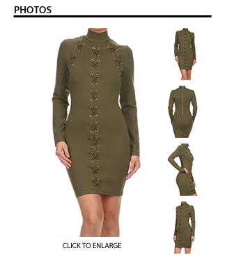 X Me Out in Long Sleeve Olive Dress