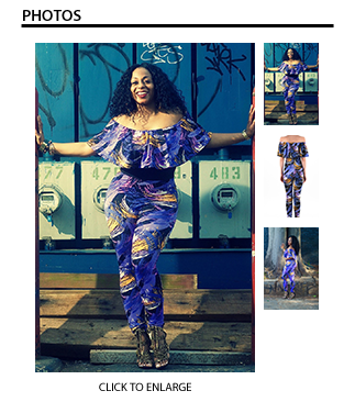Melissa Off Shoulder Jumpsuit in Purple/Blue