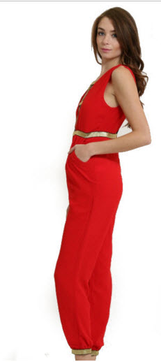The Aladdin Jumpsuit in Red with Gold Accents