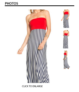 Tube Top Striped Maxi Dress (Red, Navy & White)
