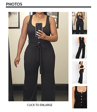 Quiana Ribbed Belted Jumpsuit - Black