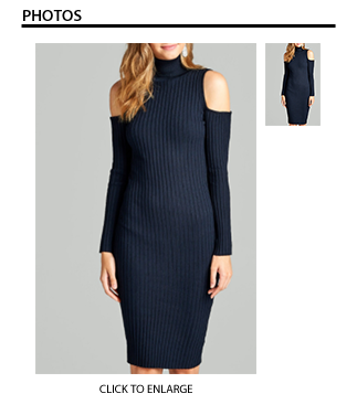 Long Sleeve Turtleneck Ribbed Bodycon Dress in Navy