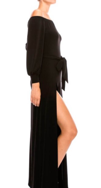 Black Off the Shoulder Shorts Maxi Dress Combo