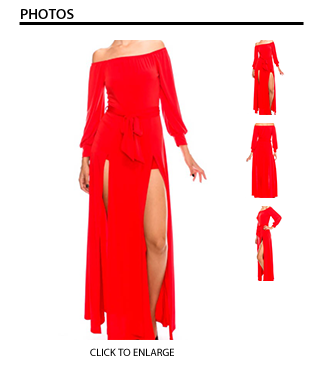 Red Off the Shoulder Short Maxi Dress
