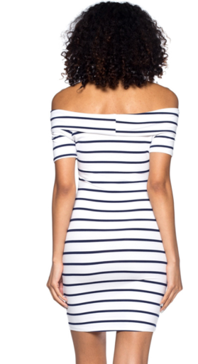 Off the Shoulder Striped Dress - Navy & White