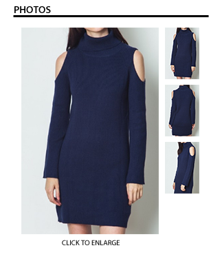 Cold Shoulder Sweater Dress in Navy