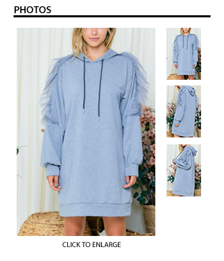 Hooded Sweatshirt Dress with Tulle on Sleeves - Heather Gray