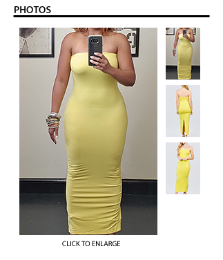 Long Tube Dress with Back Split - Yellow
