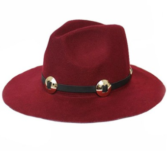 Burgundy Panama Hat with Metal Band