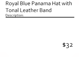 Royal Blue Panama Hat with Tonal Leather Band